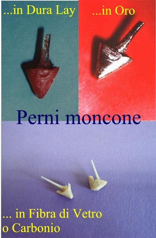 Vari tipi di Perni Monconi in diversi materiali. Da casistica Dr. Gustavo Petti e Dr.ssa Claudia Petti in Cagliari